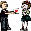 Woodcut Illustration of Boy Giving Girl Valentine Card — Stock Vector #30557949