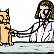 Stock Vector: Woodcut Illustration of Vet Giving Cat Checkup