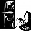 Woodcut illustration of Boy Playing Video Game — Imagens vectoriais em stock