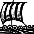 Woodcut Illustration of Viking Ship — Stok Vektör
