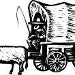 Woodcut Illustration of Conistoga Wagon — Image vectorielle