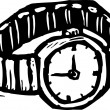 Woodcut Illustration of Watch — Vettoriali Stock