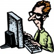 Woodcut Illustration of Webmaster or Nerd — Stock Vector #30558301