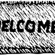 Woodcut Illustration of Welcome Mat — Imagen vectorial