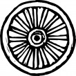 Woodcut Illustration of Wagon Wheel — Image vectorielle