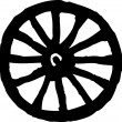 Stock Vector: Woodcut Illustration Icon of Wagon Wheel