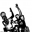 Woodcut Illustration of Wheelchair Basketball — Stock Vector
