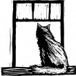 Woodcut illustration of Cat in Window — Stock Vector