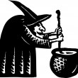 Woodcut Illustration of Witch Stirring Cauldron — Vector de stock #30558493