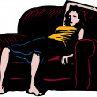 Woodcut Illustration of Exhausted Woman Relaxing on Couch — Stock Vector
