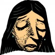 Woodcut Illustration of Woman in a Sad Mood — Stock Vector