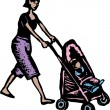 Stock Vector: Woodcut Illustration of Mom Pushing Stroller
