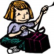 Woodcut Illustration of Little Girl Opening a Present — Stock Vector