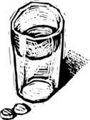 Glas wasser mit zwei tabletten oder pillen der medizin — Stockvektor