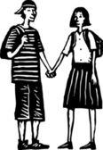 Casal teen de mãos dadas — Vetorial Stock