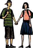 Teen Couple Holding Hands — Stock Vector