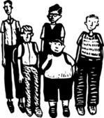 Grupp pojkar — Stockvektor