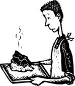 Jongen koken in binnenlandse economie — Stockvector