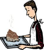 Boy Cooking in Home Economics — Stock Vector