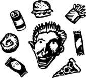 Teen Boy with Junk Food — Stock Vector