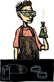 Teen Boy in High School Science Lab — Stock Vector