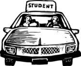 Teen flicka student driver — Stockvektor