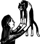 Teen Girl Holding Cat — Stock Vector