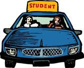 Teen Girl Student Driver — Stock Vector
