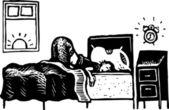 мальчик подросток в постели с сигнализация уходят — Cтоковый вектор