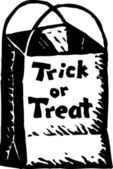 Woodcut Illustration of Trick or Treat Bag — Stock Vector