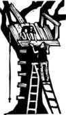 Woodcut illustration of Tree House — Stock Vector