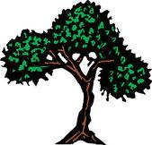 Woodcut Illustration of Tree — 图库矢量图片