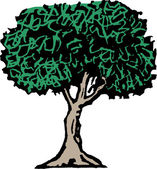Woodcut Illustration of Tree — Stock Vector