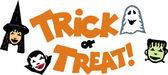 Woodcut Illustration of Trick or Treat Type Design — Stockvektor