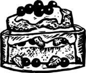 誕生日ケーキの木版画イラスト — ストックベクタ