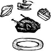 Woodcut Illustration of Turkey Dinner — Stock Vector
