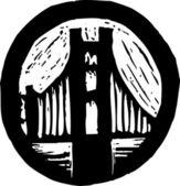 Träsnitt illustration av resor klistermärke — Stockvektor