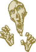 Illustrazione di xilografia di testa zombie e mani — Vettoriale Stock