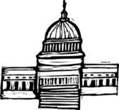 Woodcut Illustration of US Capitol — Stock Vector