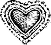 Woodcut Illustration of Valentine — Vetorial Stock