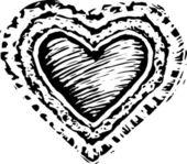 Woodcut Illustration of Valentine — Stock Vector