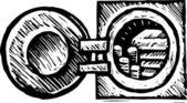 Woodcut illustration of Vault — Stock Vector