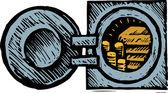 Träsnitt illustration av valv — Stockvektor