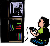 Woodcut illustration of Boy Playing Video Game — Stock Vector