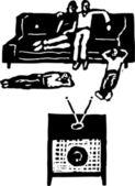 Woodcut illustration of Video Night — Stock Vector