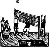 Träsnitt illustration av volleyboll — Stockvektor