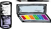 Dřevoryt ilustrace vody barevná malba set — Stock vektor