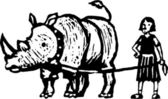 Woodcut Illustration of Girl with Pet Rhinocerus — Stock Vector