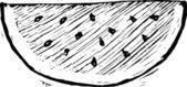 Träsnitt illustration av vattenmelon — Stockvektor
