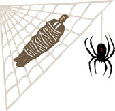 Woodcut Illustration of Man Trapped in Spider Web — Stock Vector